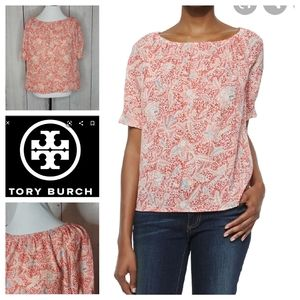 Tory Burch Floral Print Gauze Top